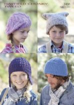 Hayfield Chunky Tweed Knitting Pattern - 7491 Cap, Helmet, Hat & Beret